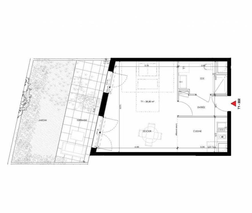 Plan 202, appartement neuf type T1 au Rez de chaussée, orienté Ouest faisant 40m² du programme neuf 2 PRIEURE BATIMENT 2 à Saint-Germain-en-Laye.
