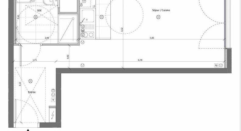 Plan recadré du lot neuf du programme neuf 7 Leclerc