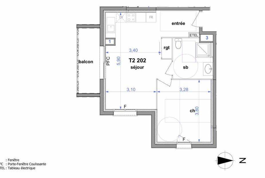 Plan 202, appartement neuf type T2 au 2ème étage, orienté Sud faisant 43m² du programme neuf Au fil de l'O1 à Maromme.
