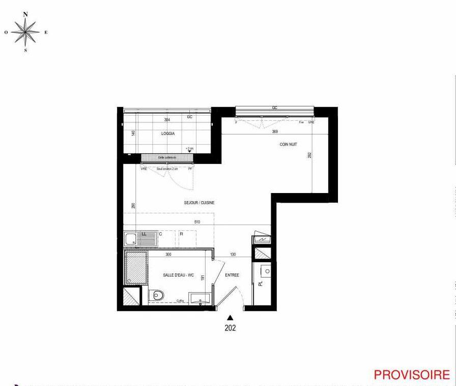 Plan 202, appartement neuf type T2 au 2ème étage, orienté Nord faisant 31m² du programme neuf L'Exception à Nantes.