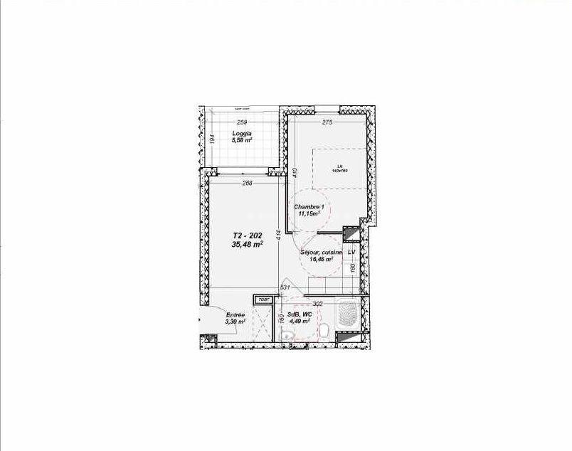 Plan 202, appartement neuf type T2 au 2ème étage, orienté Nord faisant 35m² du programme neuf Le Dôme à Marseille.