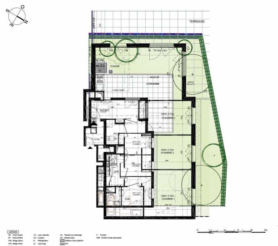 Plan 202, appartement neuf type T4 au Rez de chaussée, orienté Sud faisant 77m² du programme neuf LES JARDINS BALZAC BAT 3 à Argenteuil.