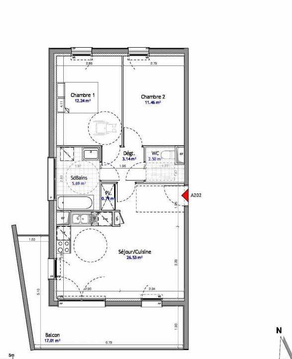Plan 202, appartement neuf type T3 au 2ème étage, orienté Est faisant 62m² du programme neuf SOUTH PARK BAT A NUE PROPRIETE à Amiens.