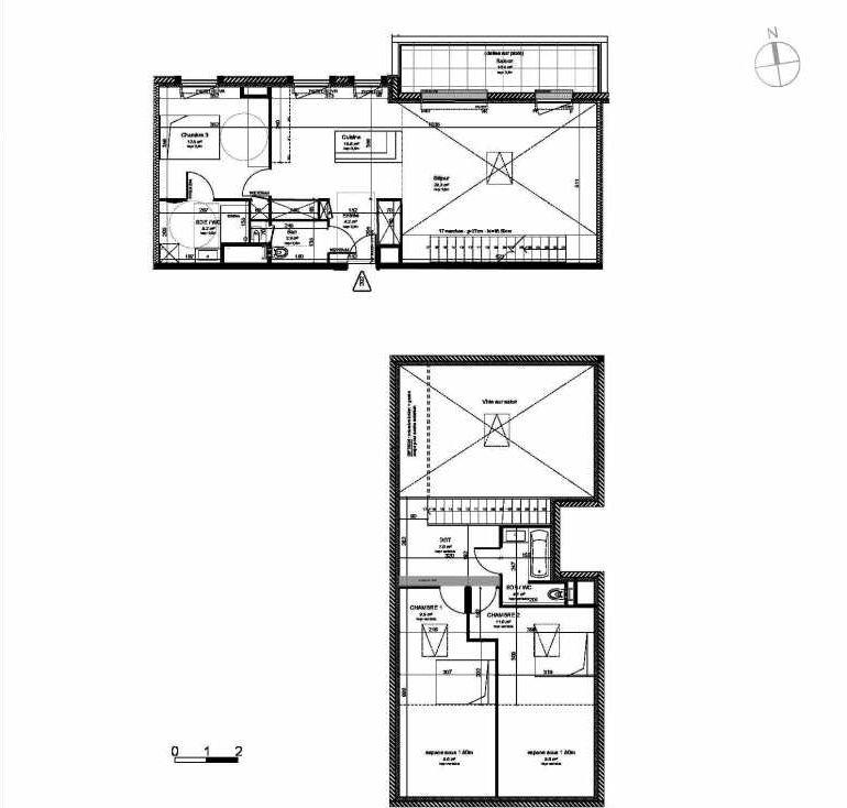 Plan 202, appartement neuf type T4 au 2ème étage, orienté Nord faisant 102m² du programme neuf VILLA DES PINS à Les Sables-d'Olonne.