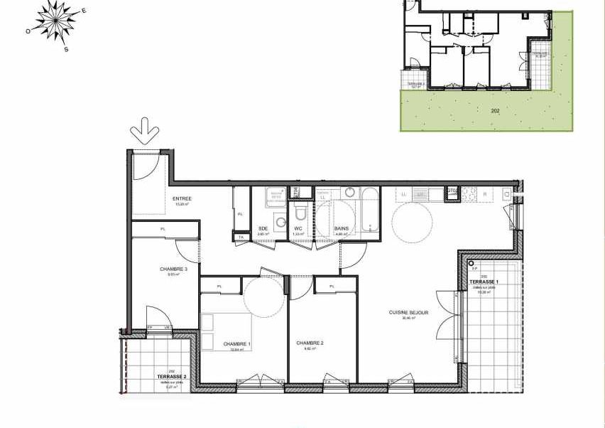 Plan 202, appartement neuf type T4 au Rez de jardin, orienté Sud faisant 87m² du programme neuf Villas Aravis à Saint-Pierre-en-Faucigny.