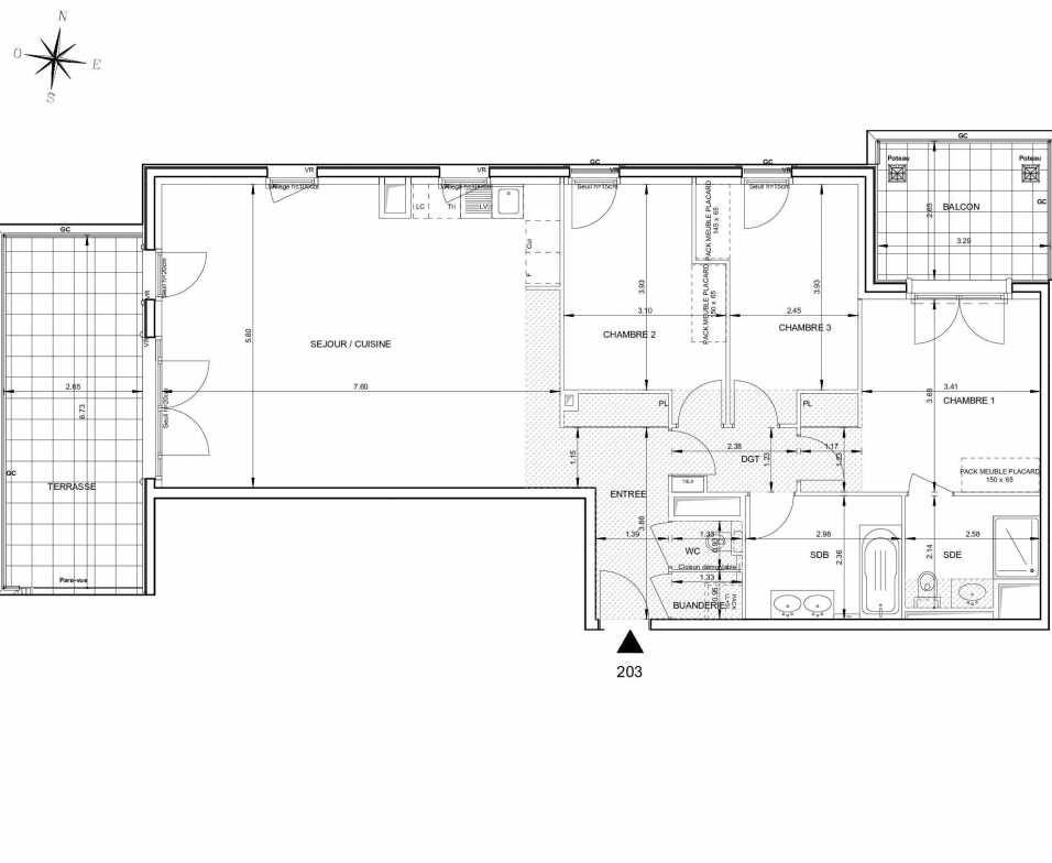 Plan 203, appartement neuf type T4 au 2ème étage, orienté Ouest faisant 106m² du programme neuf 124 FONTENAILLE à Aix-en-Provence.