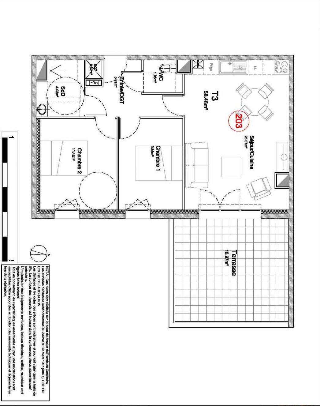 Plan 203, appartement neuf type T3 au 2ème étage, orienté Est faisant 58m² du programme neuf 194 OUEST AVENUE à Déville-lès-Rouen.