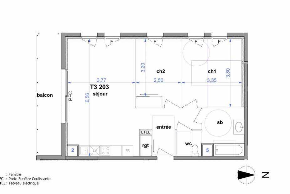Plan 203, appartement neuf type T3 au 2ème étage, orienté Sud faisant 62m² du programme neuf Au fil de l'O1 à Maromme.