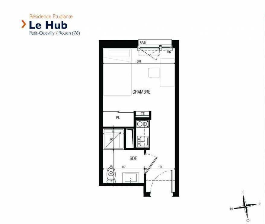 Plan 203, appartement neuf type T1 au 2ème étage, faisant 17m² du programme neuf Le Hub à Le Petit-Quevilly.