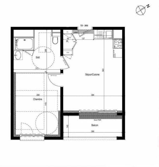 Plan 203, appartement neuf type T2 au 2ème étage, faisant 40m² du programme neuf Les Boréales à Rouen.