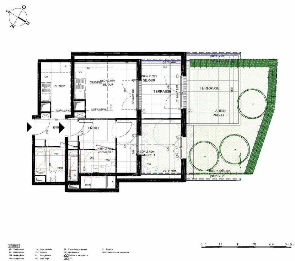 Plan 203, appartement neuf type T2 au Rez de chaussée, orienté Nord faisant 42m² du programme neuf LES JARDINS BALZAC BAT 3 à Argenteuil.