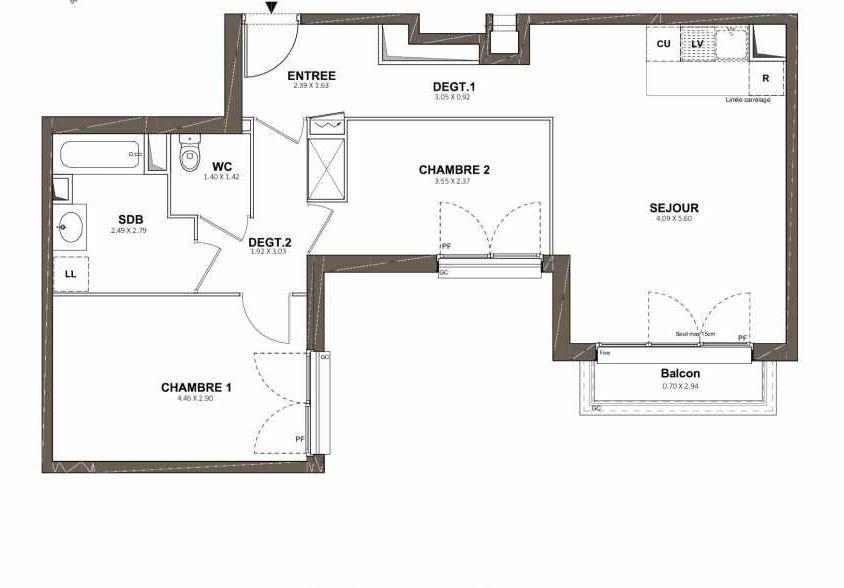 Plan 203, appartement neuf type T3 au 2ème étage, faisant 64m² du programme neuf Pavillon Royal à Saint-Cyr-l'École.