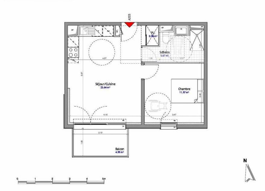 Plan 203, appartement neuf type T2 au 2ème étage, orienté Est faisant 42m² du programme neuf SOUTH PARK BAT A NUE PROPRIETE à Amiens.