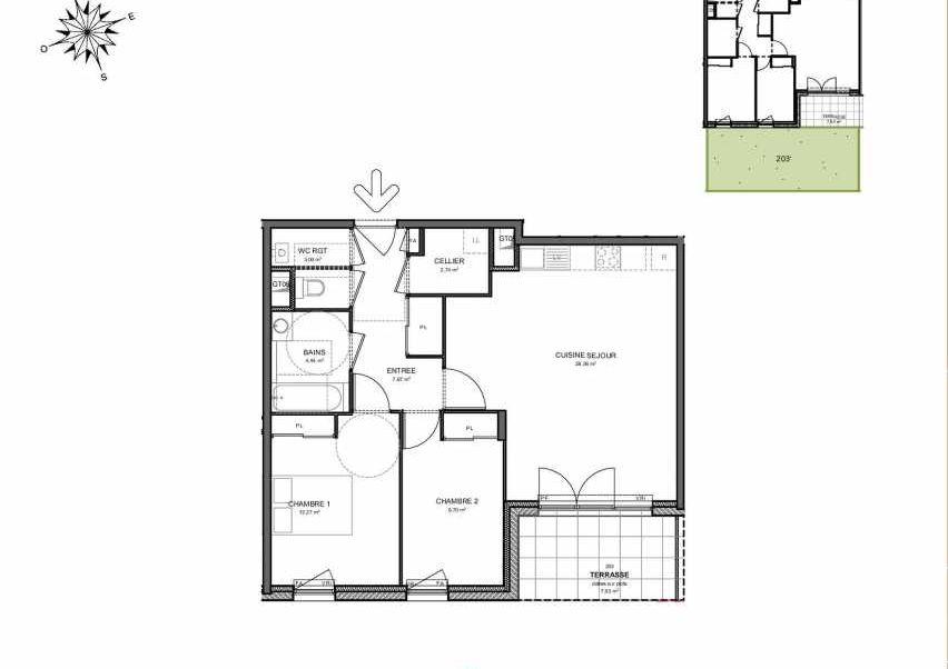 Plan 203, appartement neuf type T3 au Rez de jardin, orienté Sud faisant 68m² du programme neuf Villas Aravis à Saint-Pierre-en-Faucigny.