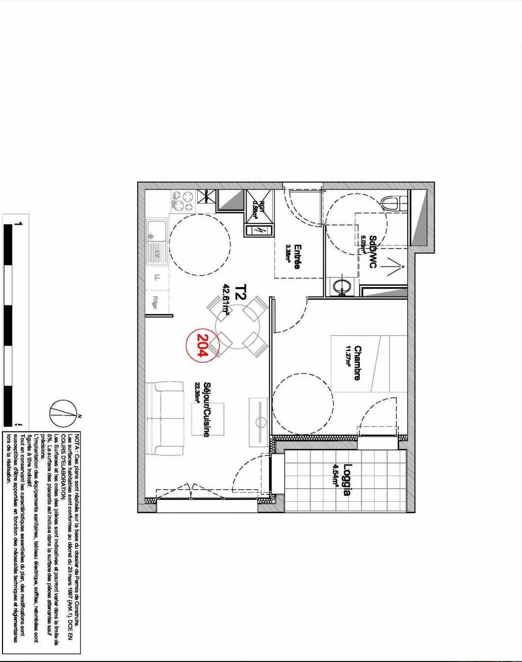 Plan 204, appartement neuf type T2 au 2ème étage, orienté Est faisant 43m² du programme neuf 194 OUEST AVENUE à Déville-lès-Rouen.