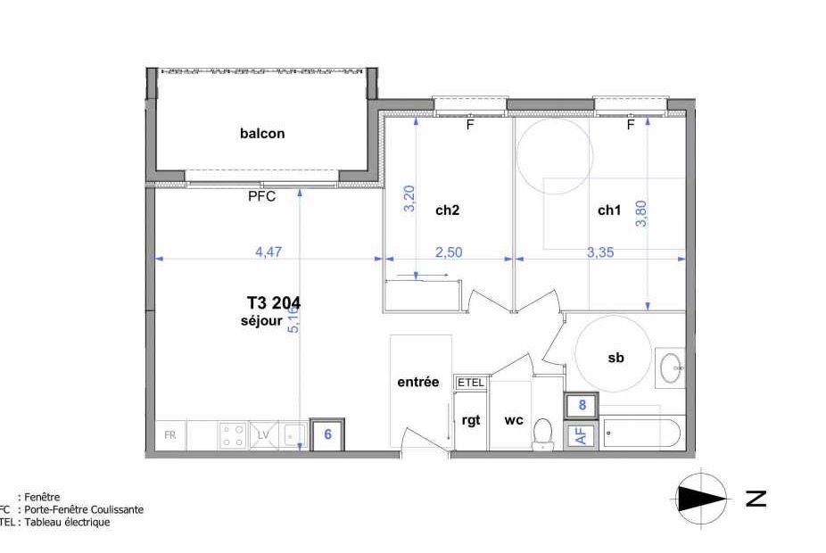 Plan 204, appartement neuf type T3 au 2ème étage, orienté Ouest faisant 60m² du programme neuf Au fil de l'O1 à Maromme.