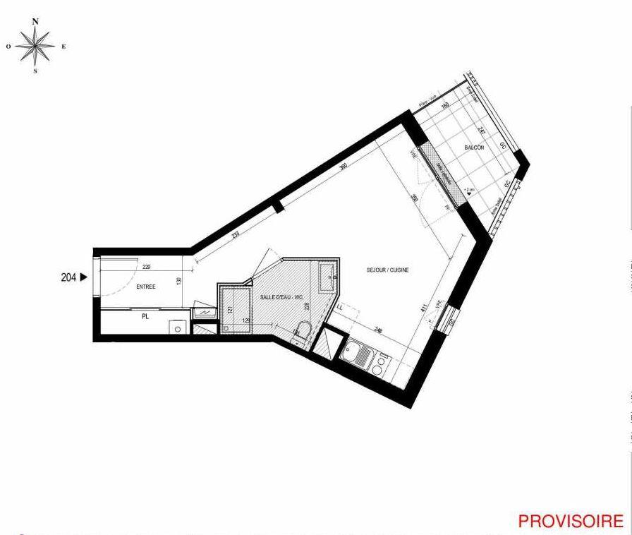 Plan 204, appartement neuf type T1 au 2ème étage, orienté Est faisant 30m² du programme neuf L'Exception à Nantes.