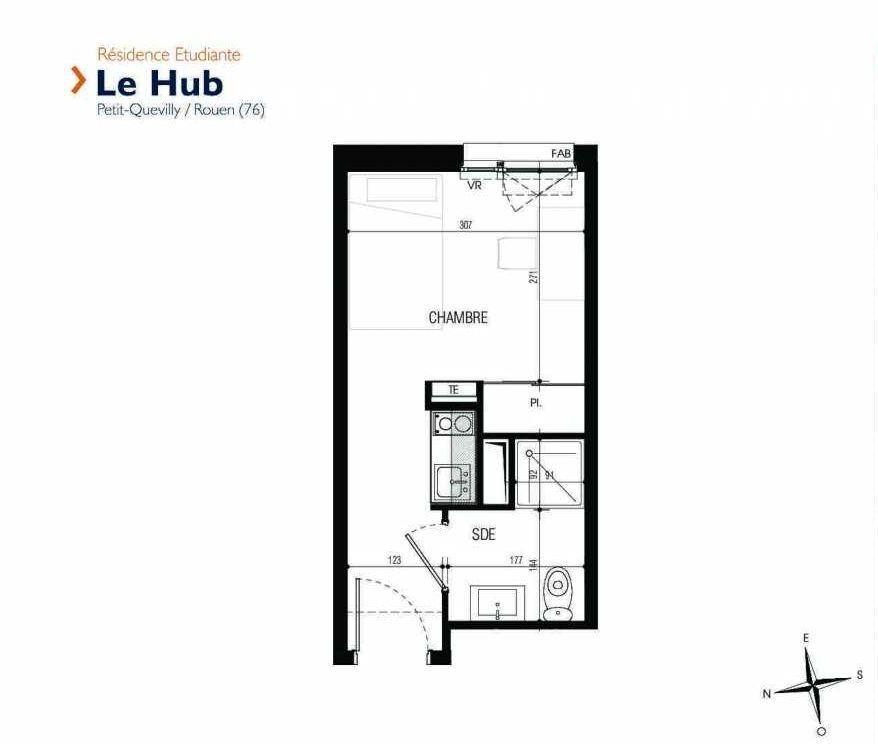 Plan 204, appartement neuf type T1 au 2ème étage, faisant 17m² du programme neuf Le Hub à Le Petit-Quevilly.