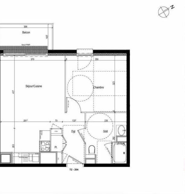 Plan 204, appartement neuf type T2 au 2ème étage, faisant 42m² du programme neuf Les Boréales à Rouen.