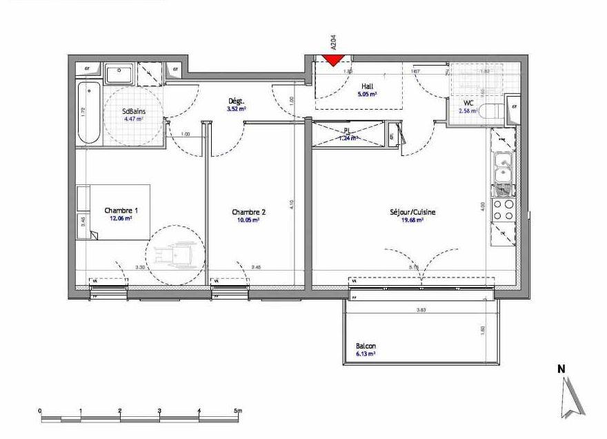 Plan 204, appartement neuf type T3 au 2ème étage, orienté Est faisant 59m² du programme neuf SOUTH PARK BAT A NUE PROPRIETE à Amiens.