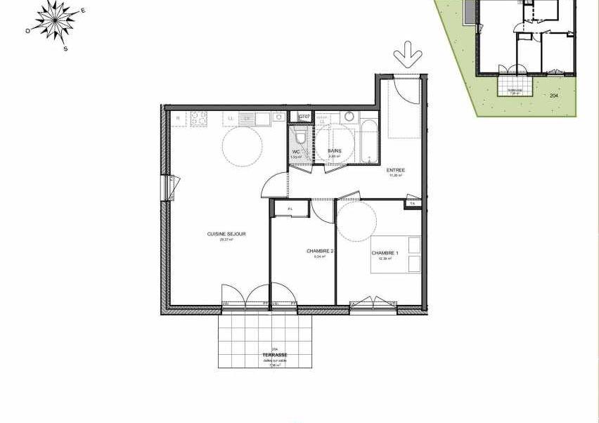 Plan 204, appartement neuf type T3 au Rez de jardin, orienté Sud faisant 68m² du programme neuf Villas Aravis à Saint-Pierre-en-Faucigny.