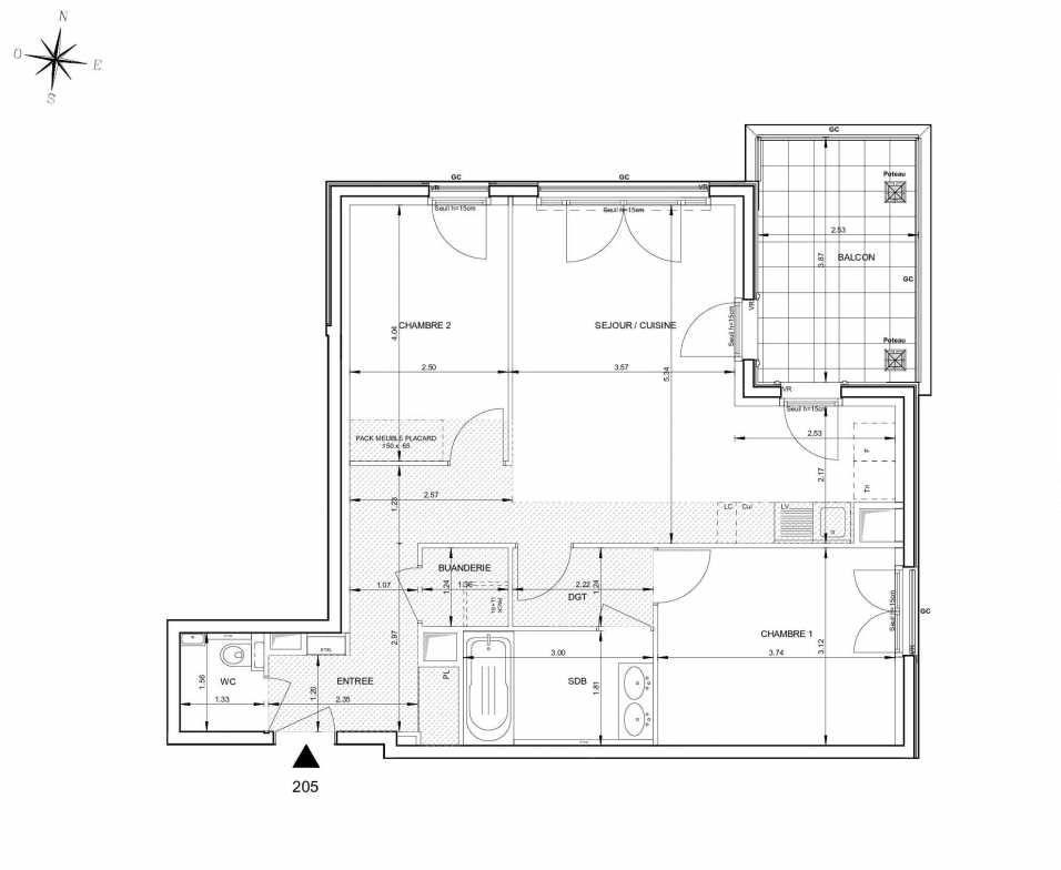 Plan 205, appartement neuf type T3 au 2ème étage, orienté Est faisant 66m² du programme neuf 124 FONTENAILLE à Aix-en-Provence.