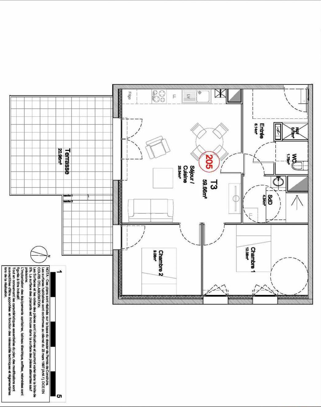 Plan 205, appartement neuf type T3 au 2ème étage, orienté Sud faisant 60m² du programme neuf 194 OUEST AVENUE à Déville-lès-Rouen.