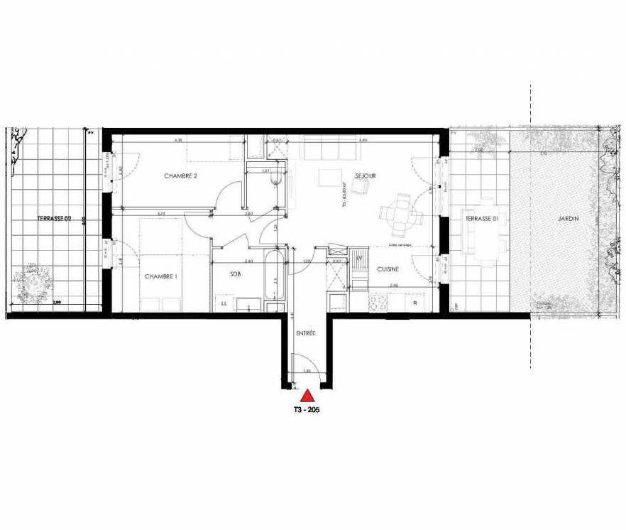 Plan 205, appartement neuf type T3 au Rez de chaussée, orienté Sud faisant 63m² du programme neuf 2 PRIEURE BATIMENT 2 à Saint-Germain-en-Laye.