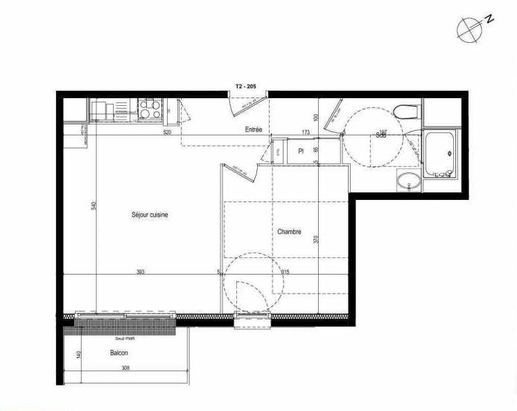 Plan 205, appartement neuf type T2 au 2ème étage, faisant 42m² du programme neuf Les Boréales à Rouen.
