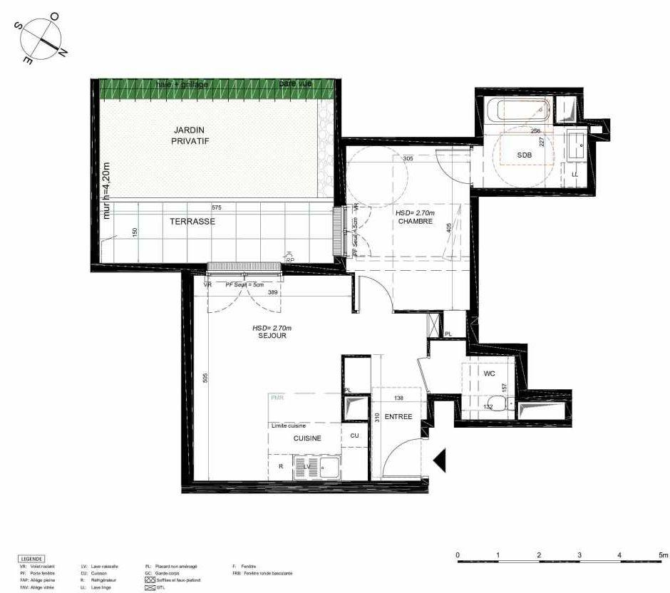 Plan 205, appartement neuf type T2 au Rez de chaussée, orienté Sud faisant 47m² du programme neuf LES JARDINS BALZAC BAT 3 à Argenteuil.