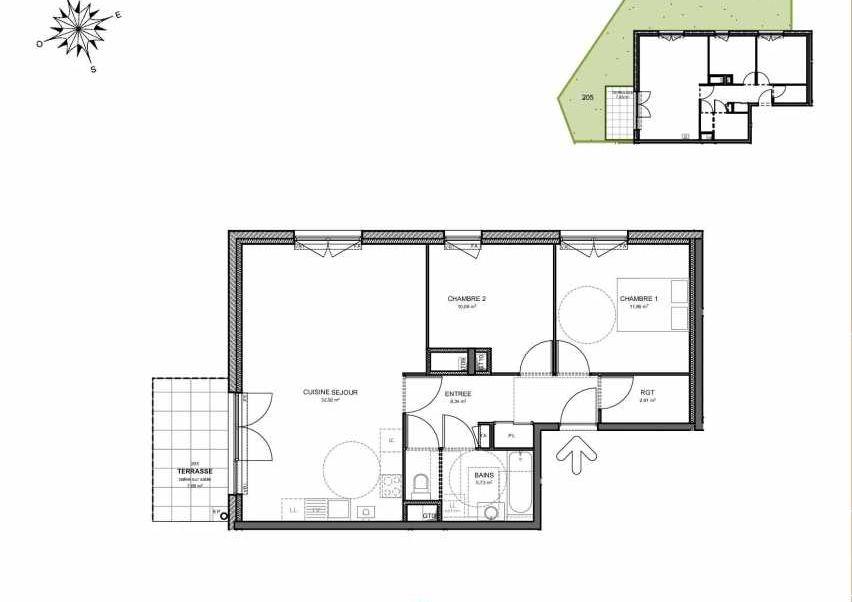 Plan 205, appartement neuf type T3 au Rez de jardin, orienté Ouest faisant 72m² du programme neuf Villas Aravis à Saint-Pierre-en-Faucigny.