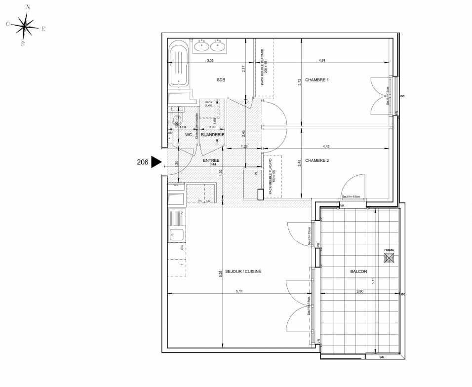Plan 206, appartement neuf type T3 au 2ème étage, orienté Est faisant 69m² du programme neuf 124 FONTENAILLE à Aix-en-Provence.
