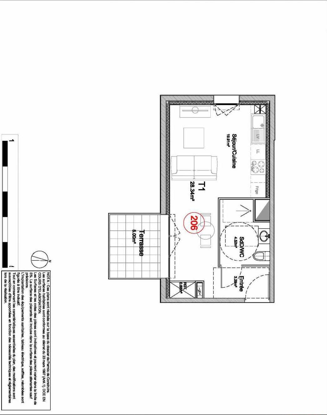 Plan 206, appartement neuf type T1 au 2ème étage, orienté Sud du programme neuf 194 OUEST AVENUE à Déville-lès-Rouen.