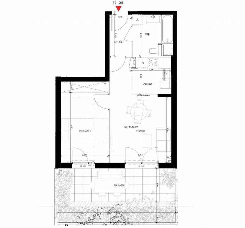 Plan 206, appartement neuf type T2 au Rez de chaussée, orienté Sud faisant 44m² du programme neuf 2 PRIEURE BATIMENT 2 à Saint-Germain-en-Laye.
