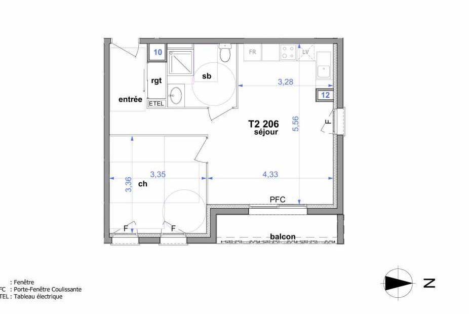 Plan 206, appartement neuf type T2 au 2ème étage, orienté Est faisant 45m² du programme neuf Au fil de l'O1 à Maromme.