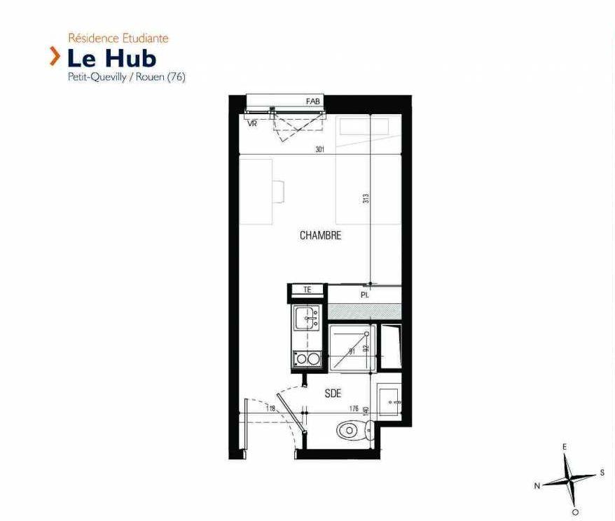 Plan 206, appartement neuf type T1 au 2ème étage, faisant 17m² du programme neuf Le Hub à Le Petit-Quevilly.