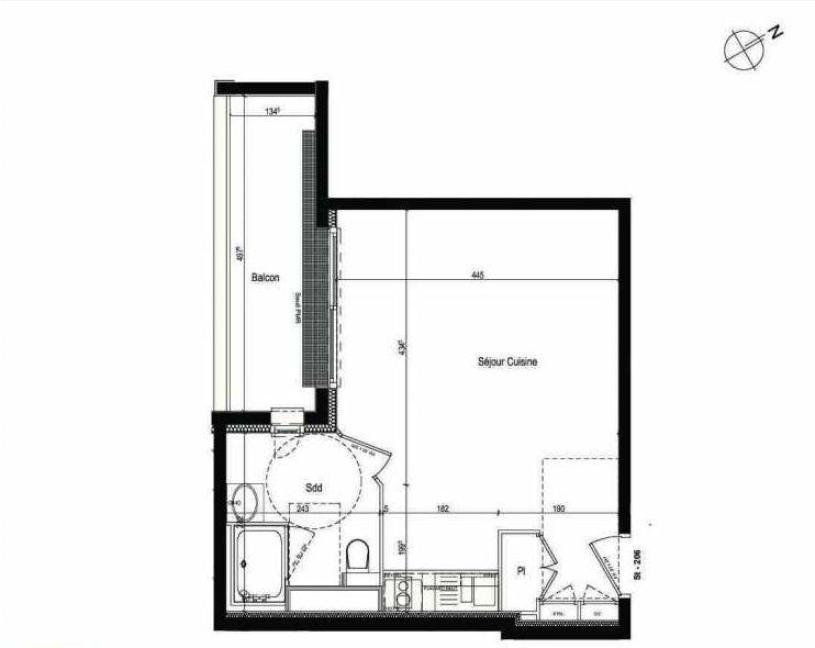 Plan 206, appartement neuf type T1 au 2ème étage, faisant 32m² du programme neuf Les Boréales à Rouen.