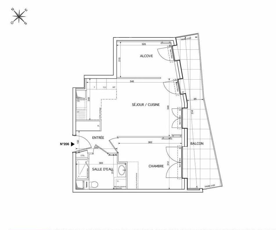 Plan 206, appartement neuf type T2 au 2ème étage, orienté Sud faisant 48m² du programme neuf Westmont à Rueil-Malmaison.