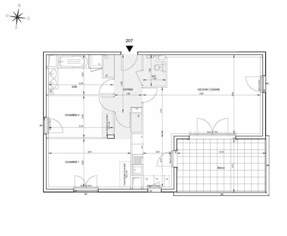 Plan 207, appartement neuf type T3 au 2ème étage, orienté Sud faisant 76m² du programme neuf 124 FONTENAILLE à Aix-en-Provence.