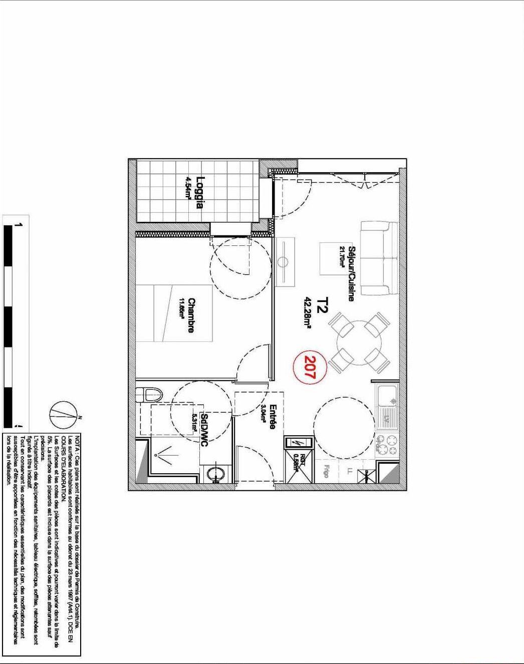 Plan 207, appartement neuf type T2 au 2ème étage, orienté Ouest faisant 42m² du programme neuf 194 OUEST AVENUE à Déville-lès-Rouen.