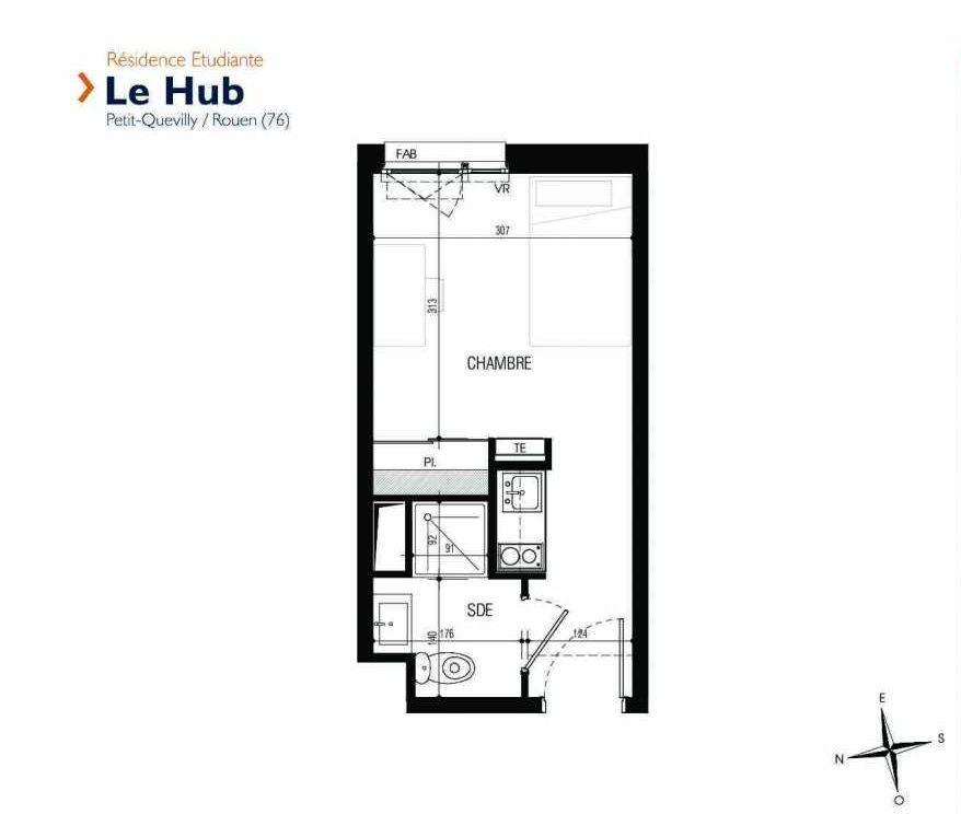 Plan 207, appartement neuf type T1 au 2ème étage, faisant 18m² du programme neuf Le Hub à Le Petit-Quevilly.