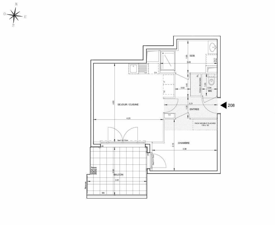 Plan 208, appartement neuf type T2 au 2ème étage, orienté Sud faisant 46m² du programme neuf 124 FONTENAILLE à Aix-en-Provence.
