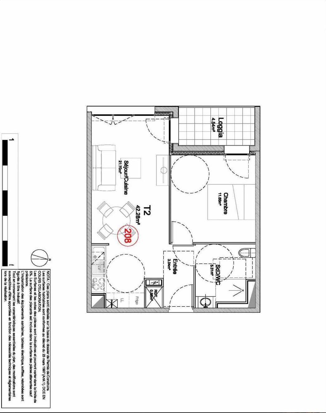 Plan 208, appartement neuf type T2 au 2ème étage, orienté Ouest faisant 42m² du programme neuf 194 OUEST AVENUE à Déville-lès-Rouen.