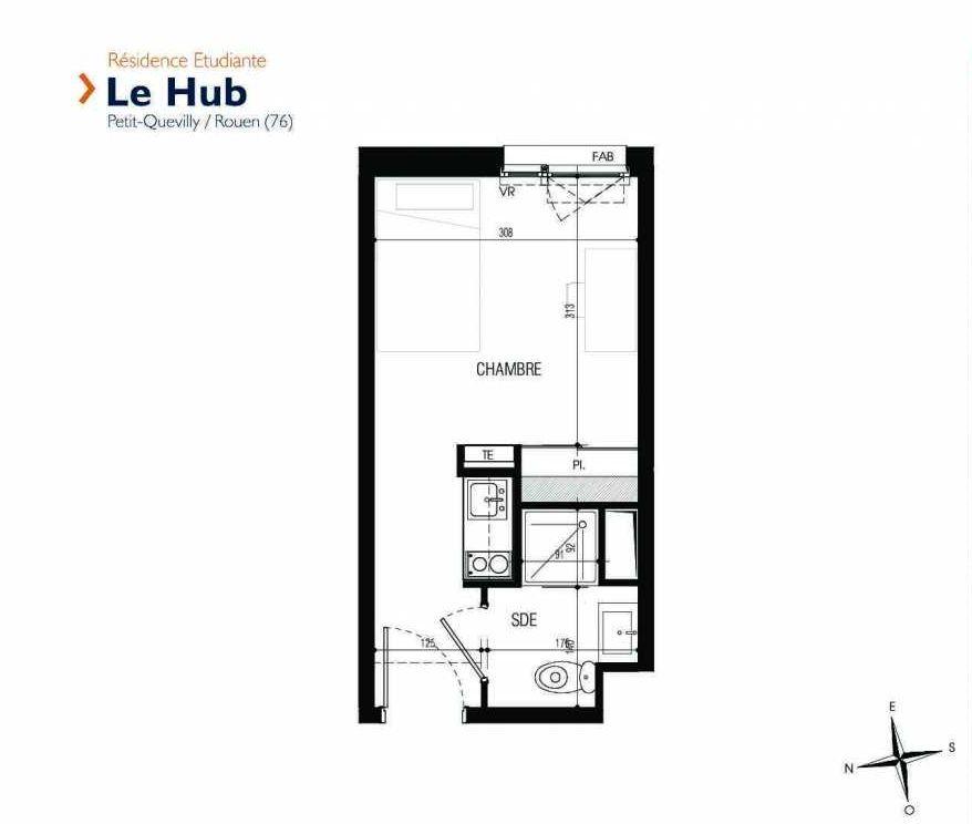 Plan 208, appartement neuf type T1 au 2ème étage, faisant 18m² du programme neuf Le Hub à Le Petit-Quevilly.