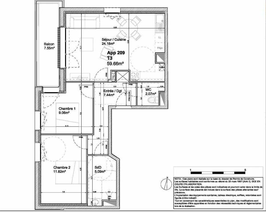 Plan 209, appartement neuf type T3 au 2ème étage, orienté Ouest faisant 60m² du programme neuf 194 OUEST AVENUE à Déville-lès-Rouen.