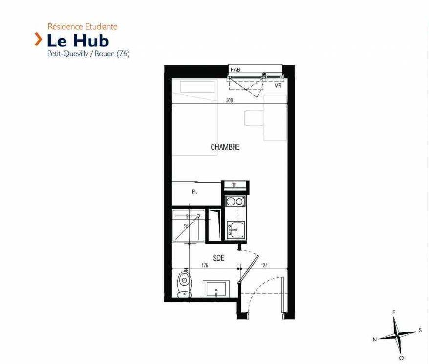 Plan 209, appartement neuf type T1 au 2ème étage, faisant 17m² du programme neuf Le Hub à Le Petit-Quevilly.