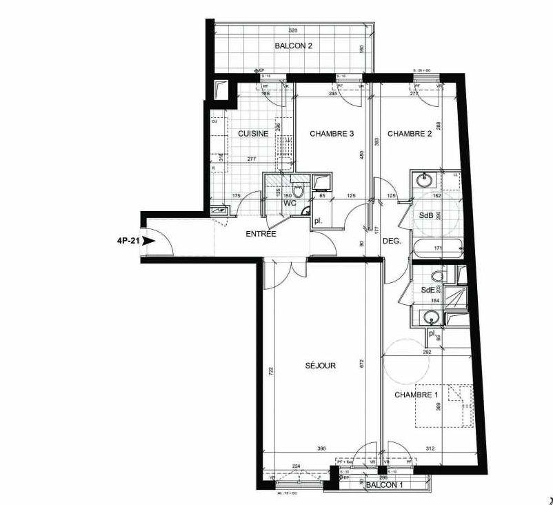 Plan 21, appartement neuf type T4 au 2ème étage, faisant 93m² du programme neuf BOULOGNE CONFIDENTIEL à Boulogne-Billancourt.