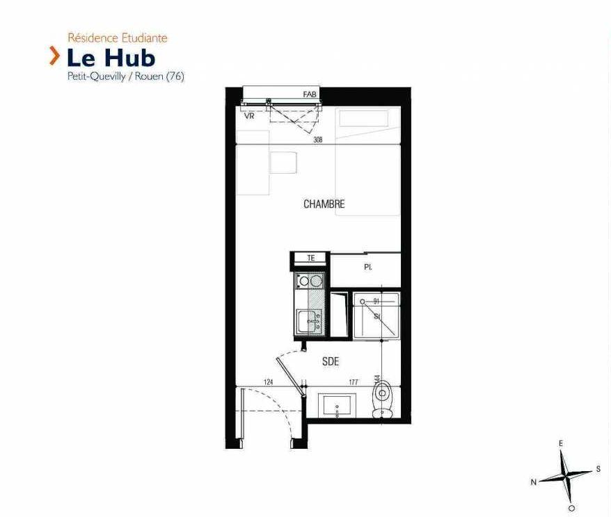 Plan 210, appartement neuf type T1 au 2ème étage, faisant 17m² du programme neuf Le Hub à Le Petit-Quevilly.