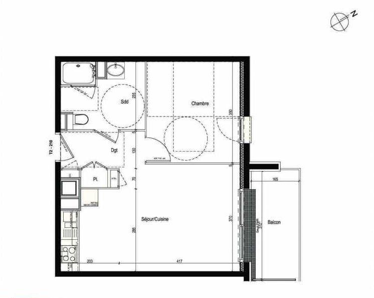 Plan 210, appartement neuf type T2 au 2ème étage, faisant 43m² du programme neuf Les Boréales à Rouen.