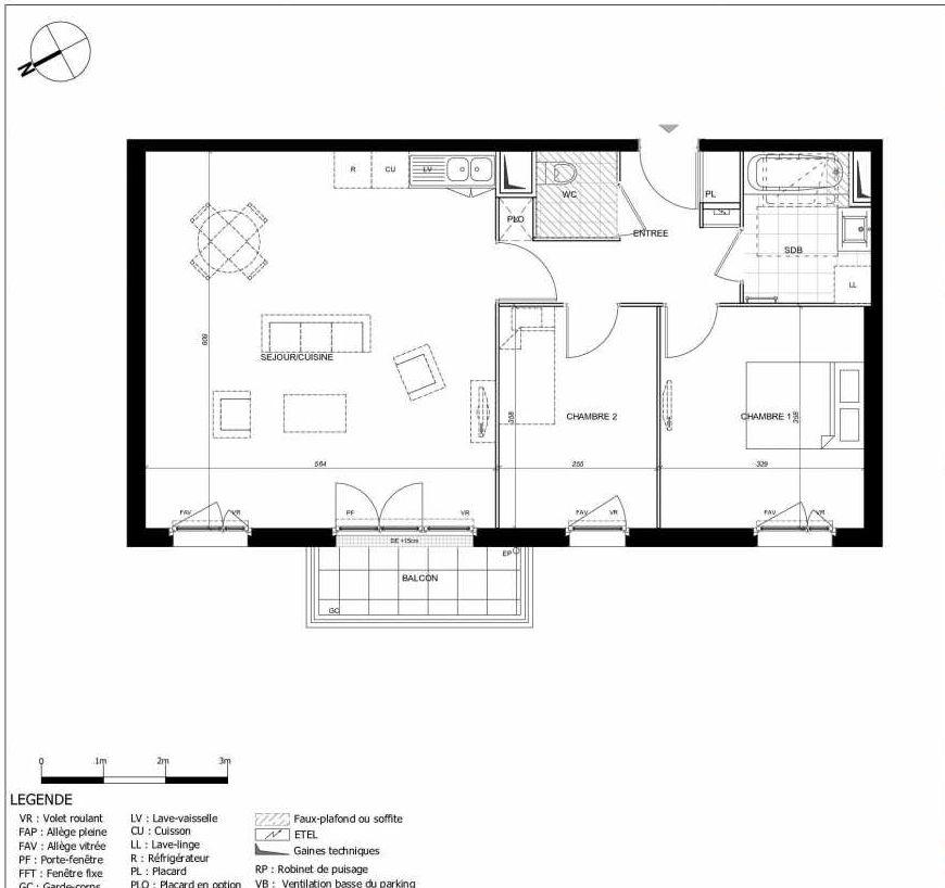 Plan 2101, appartement neuf type T3 au 1er étage, orienté Ouest faisant 69m² du programme neuf 11ÈME AVENUE ACCESSION à Eaubonne.